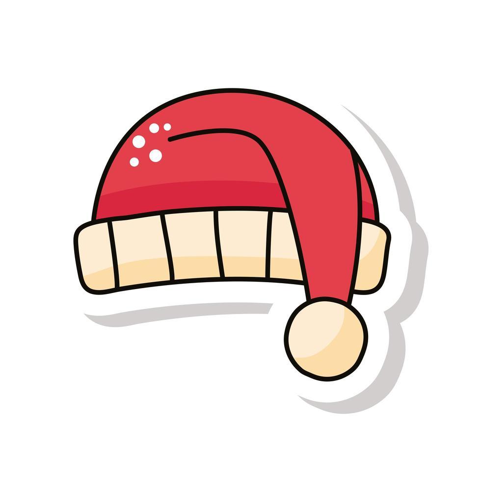 vrolijk kerstfeest kerstmuts sticker icoon vector