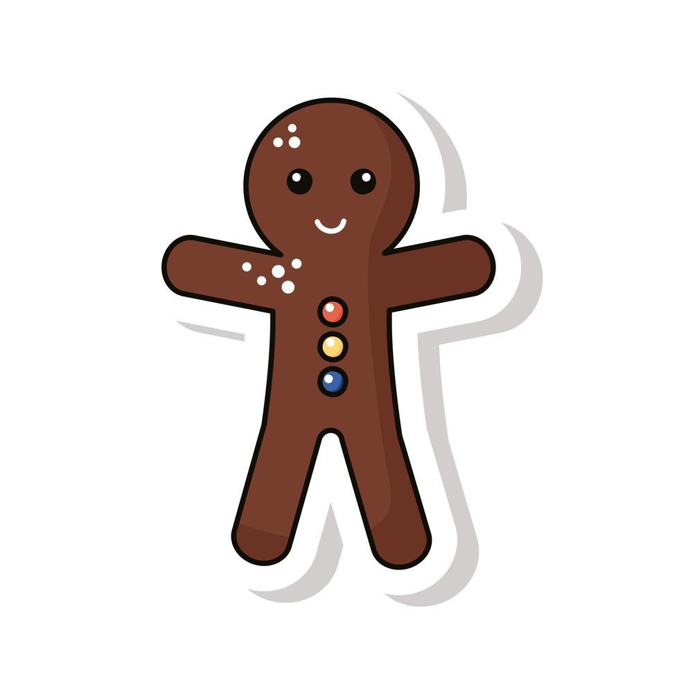vrolijk kerstfeest gember cookie sticker pictogram vector