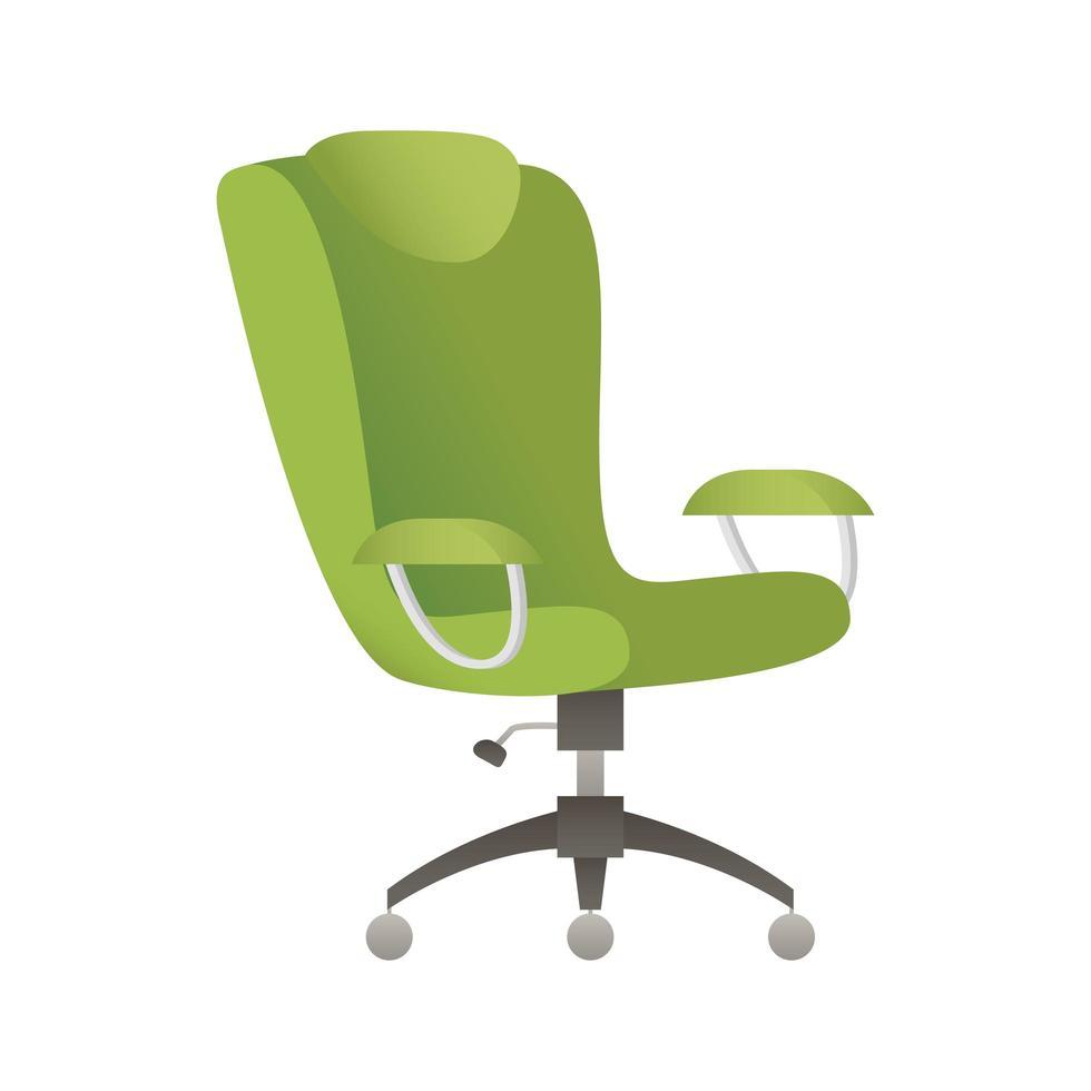 elegante groene bureaustoel geïsoleerde pictogram vectorillustratie vector