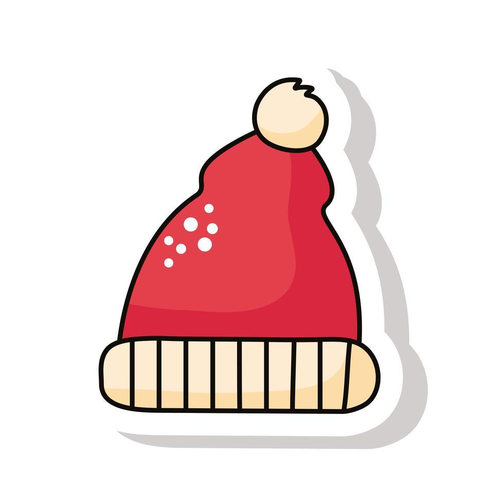 vrolijke kerst kerstmuts kleur rode sticker vector