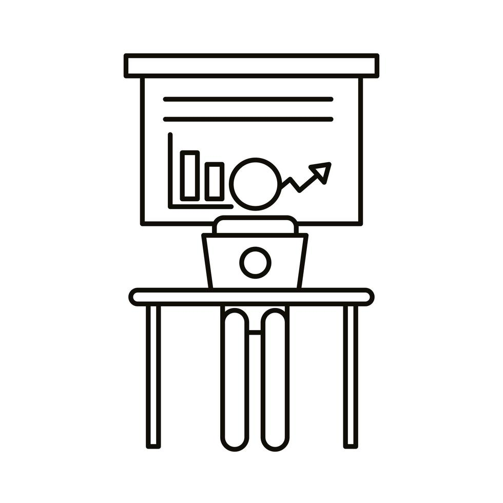 gebruikersavatar die op laptop werkt met de stijl van de statistiekenlijn vector