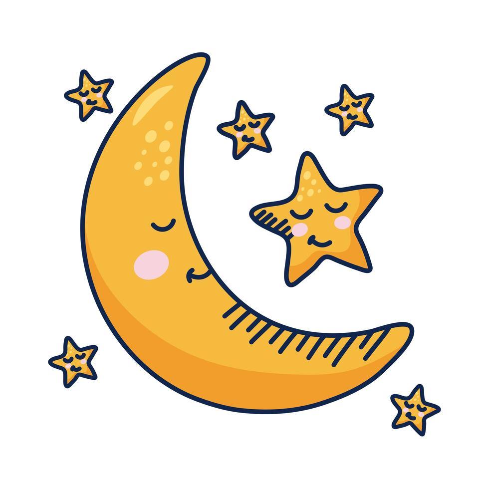 kawaii wassende maan en sterren stripfiguren vector
