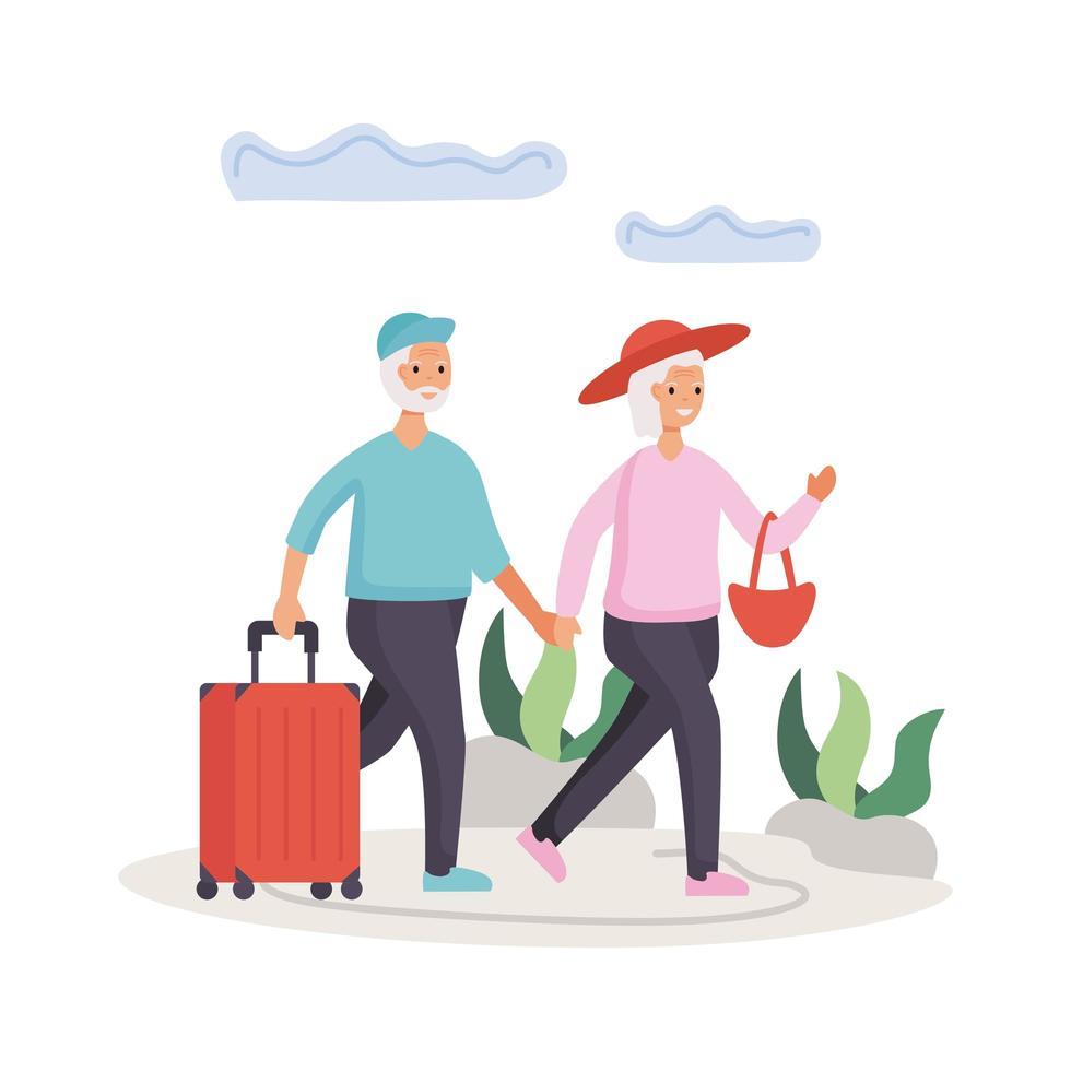 actieve senior paar reizen met koffers vector