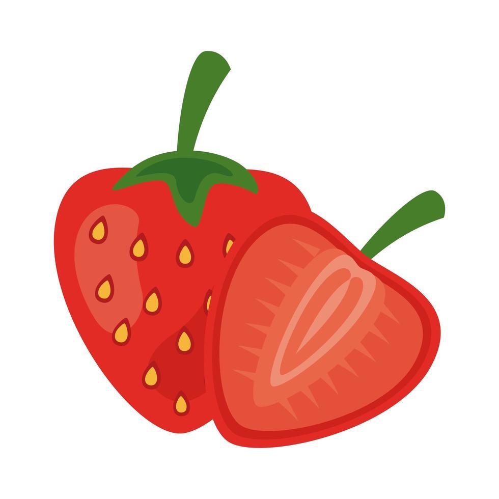 aardbei vers fruit gezond voedsel pictogram vector