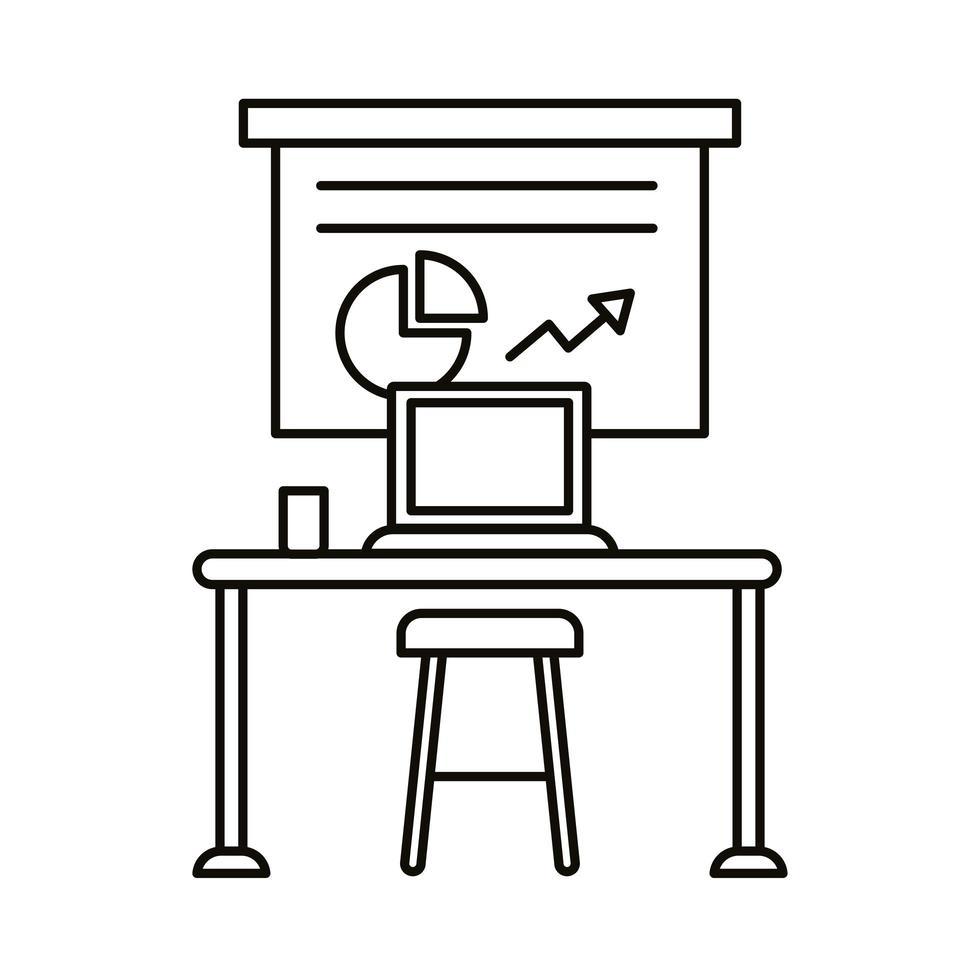 coworking werkplek met statistieken en laptop lijn stijlicoon vector