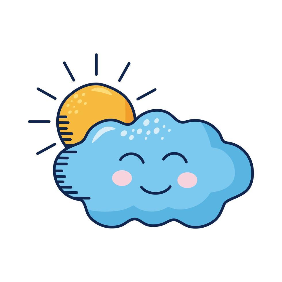 kawaii wolk met zon komisch karakter vector