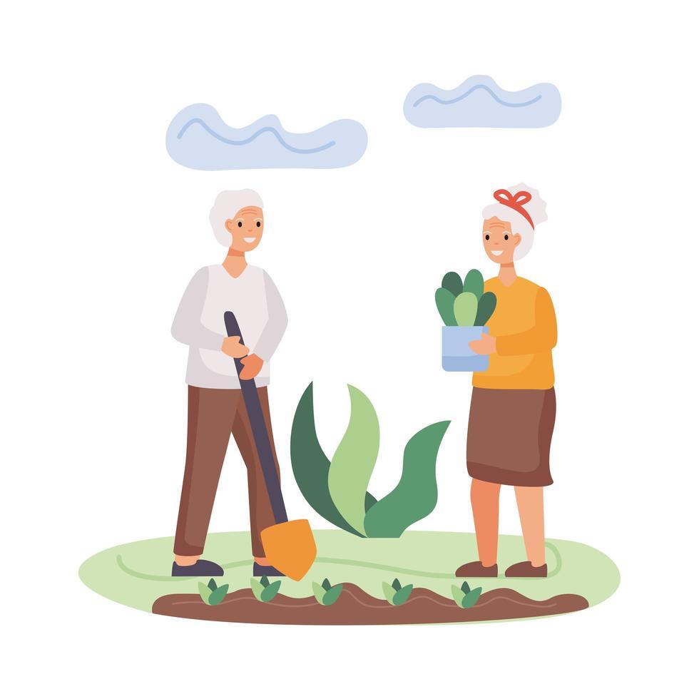 actieve senior paar aanplant boom vector