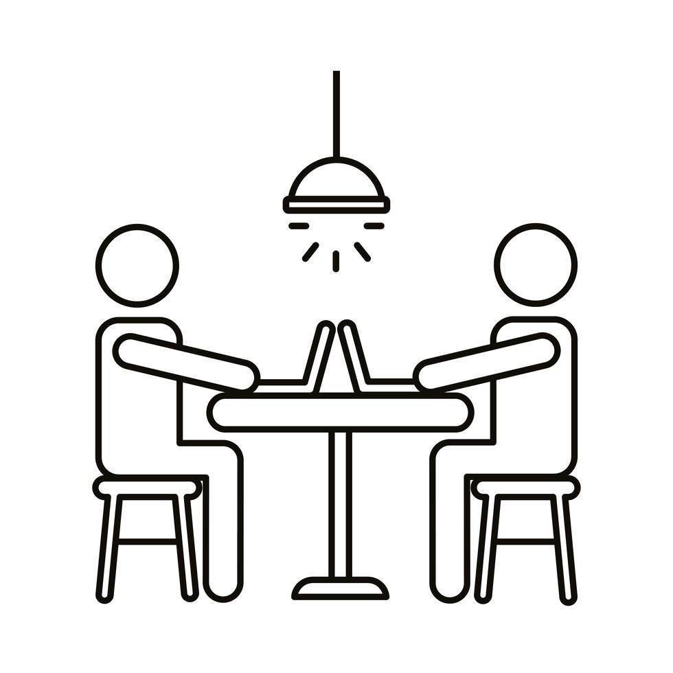 avatar paar coworking op laptops zittend op bureau lijn stijlicoon vector