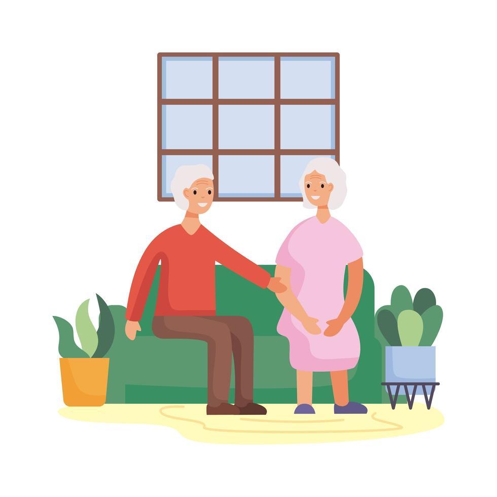actieve senior paar in de woonkamer vector