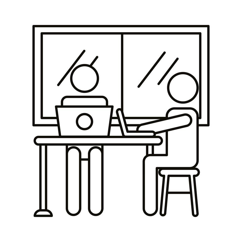 avatar paar coworking op laptops in het pictogram van de lijnstijl van het kantoor vector