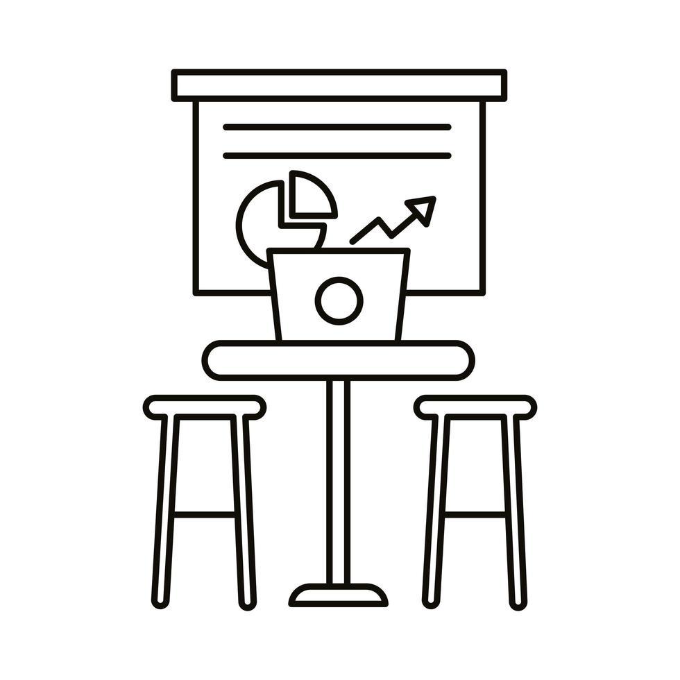 coworking werkplek met laptop en statistieken lijn stijlicoon vector