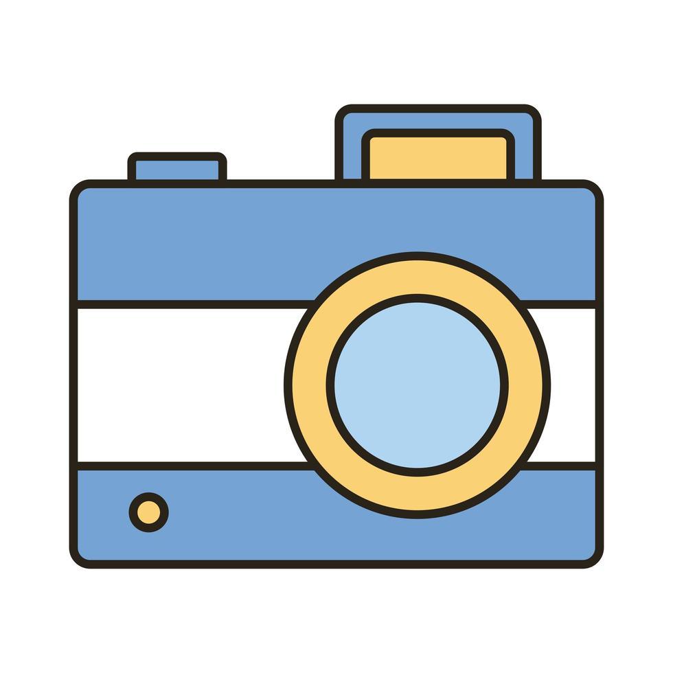 camera fotografische lijn en opvulling stijlicoon vector