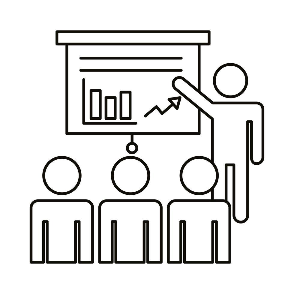 vier werknemers trainen met statistieken lijn stijlicoon vector