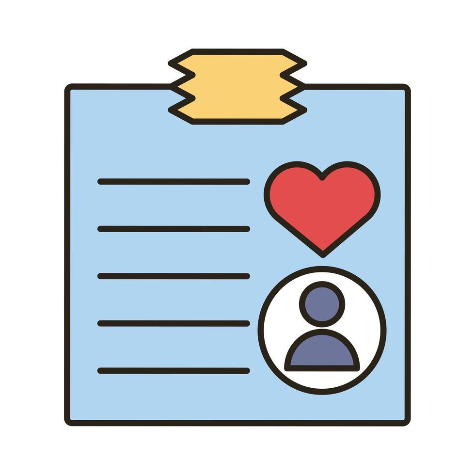 profiel avatar met hart in papierlijn en opvulling stijlicoon vector