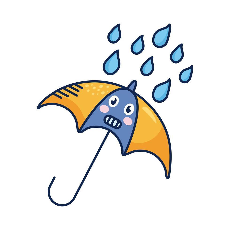 kawaii paraplu met regendruppels komisch karakter vector
