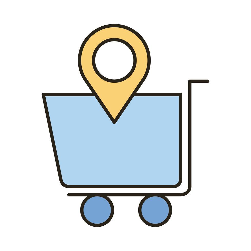 winkelwagentje met pin locatielijn en vulstijl icoon vector