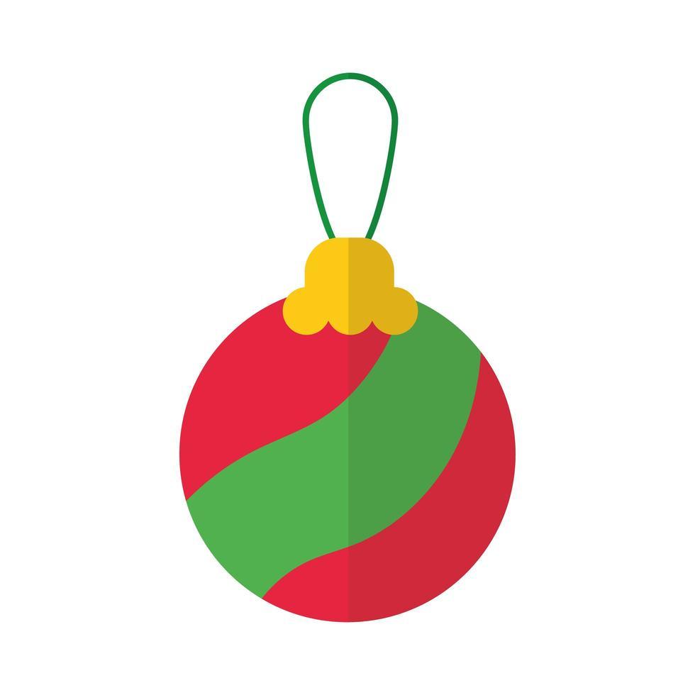 vrolijk kerstbal platte stijlicoon vector