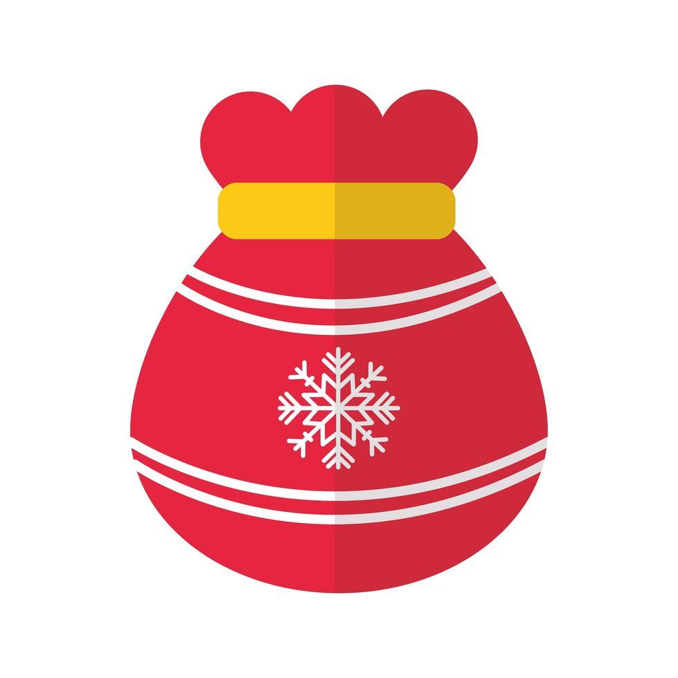 vrolijke kerstzak met sneeuwvlok platte stijlicoon vector