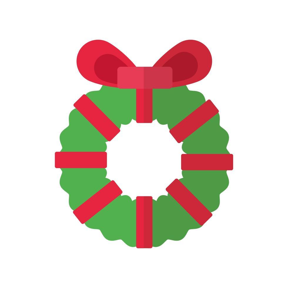 vrolijk kerstkrans platte stijlicoon vector