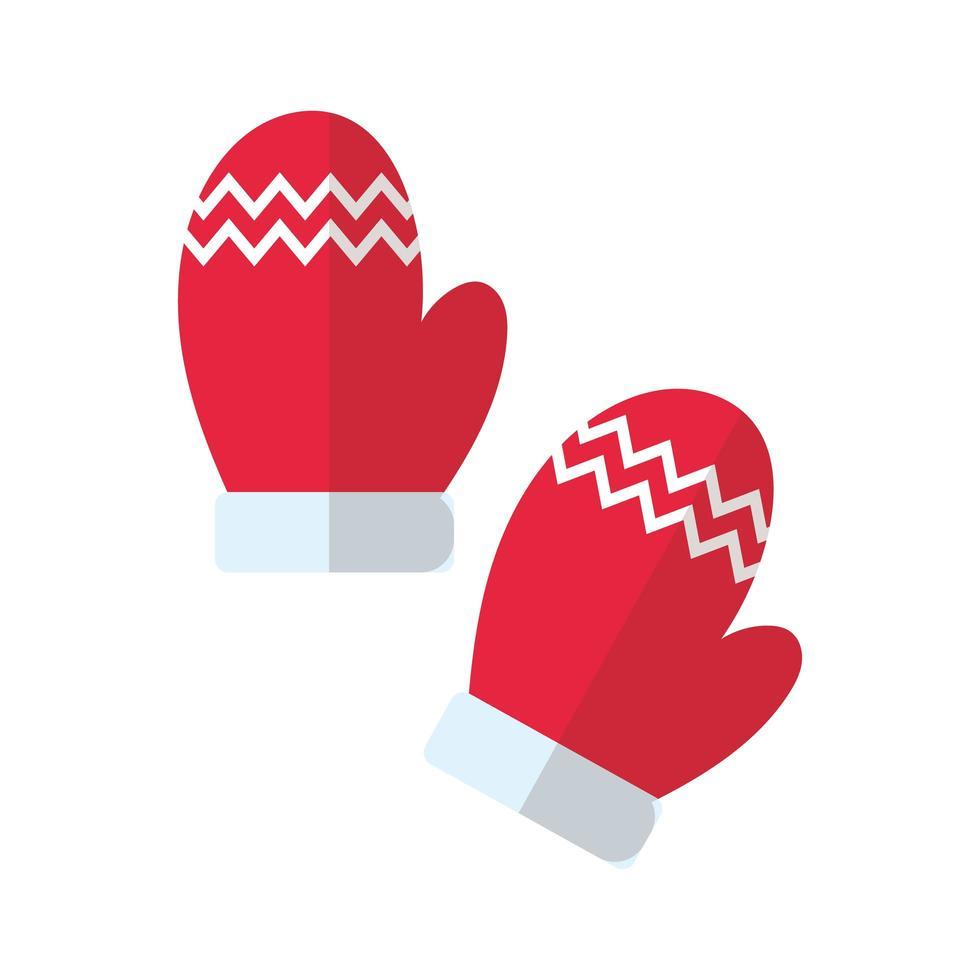 vrolijk kerstfeest handschoenen platte stijlicoon vector