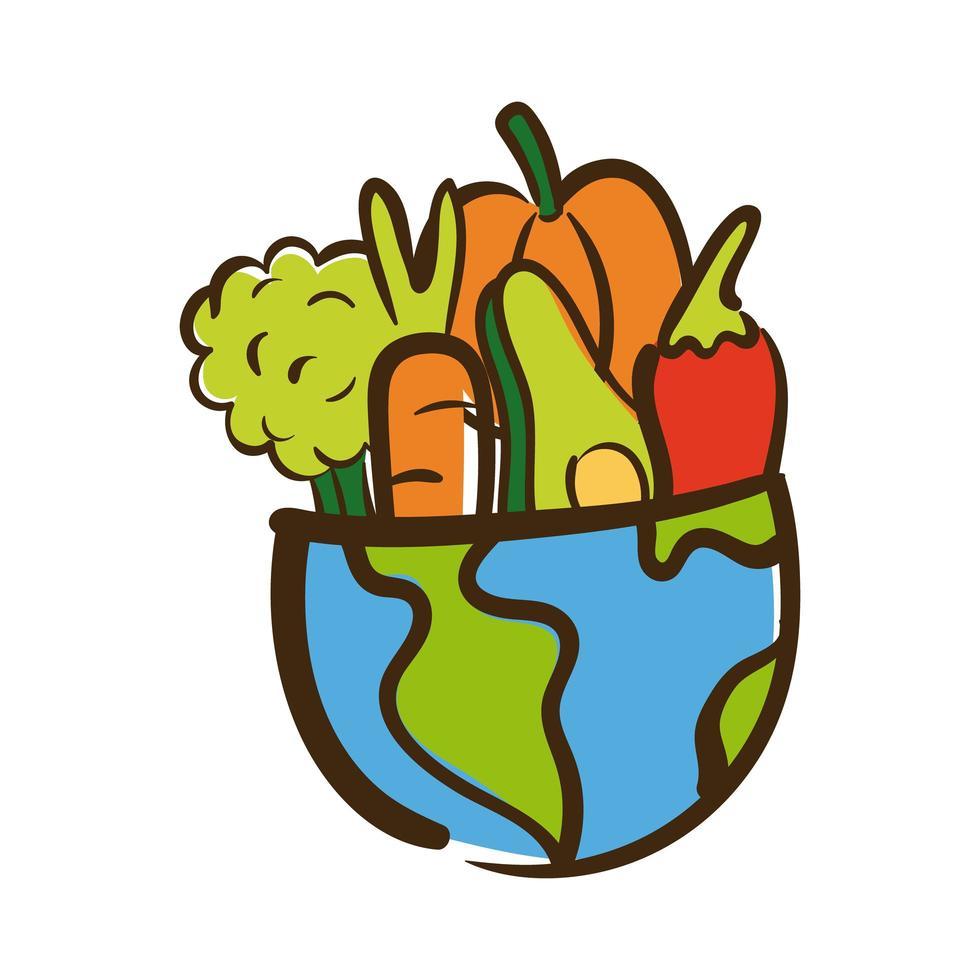 aarde planeet met groenten vlakke stijl vector