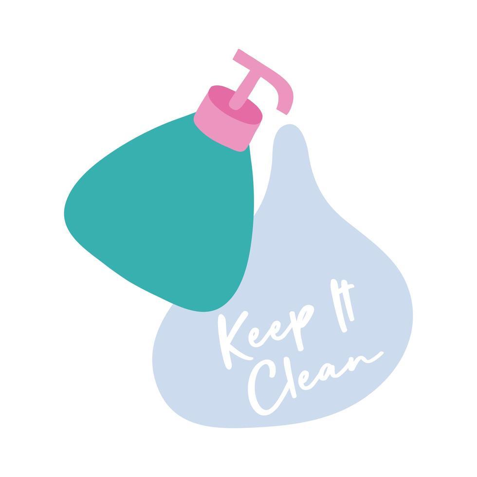 houd het schoon campagne belettering met fles platte stijl pictogram vector illustratie ontwerp