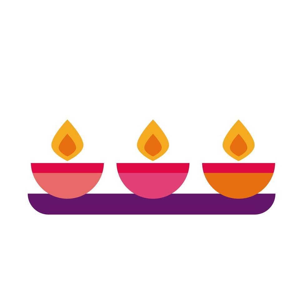 diwali kaarsen op plat stijlicoon vector