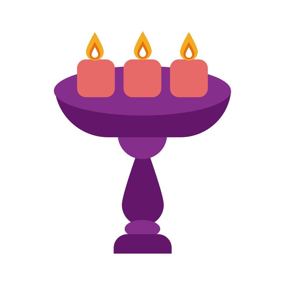diwali kaarsen op grote houder platte stijlicoon vector