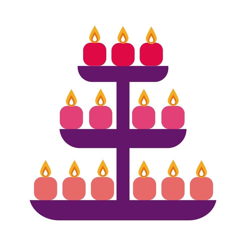 diwali kaarsen in rekken platte stijlicoon vector