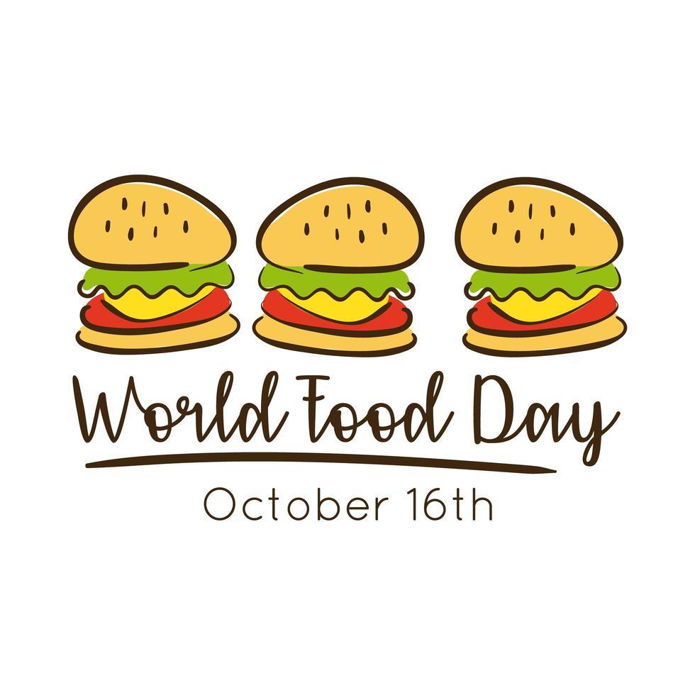 wereldvoedseldag viering belettering met hamburgers vlakke stijl vector