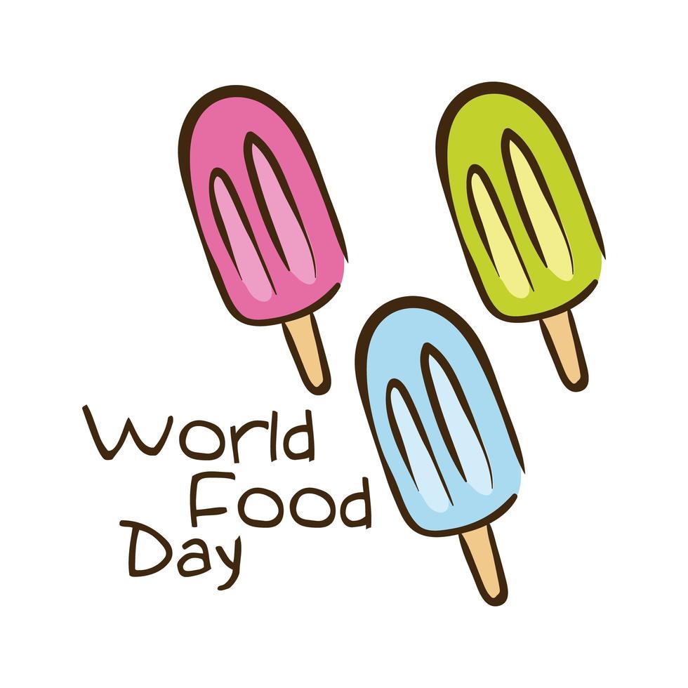 wereldvoedseldag viering belettering met ijsjes vlakke stijl vector