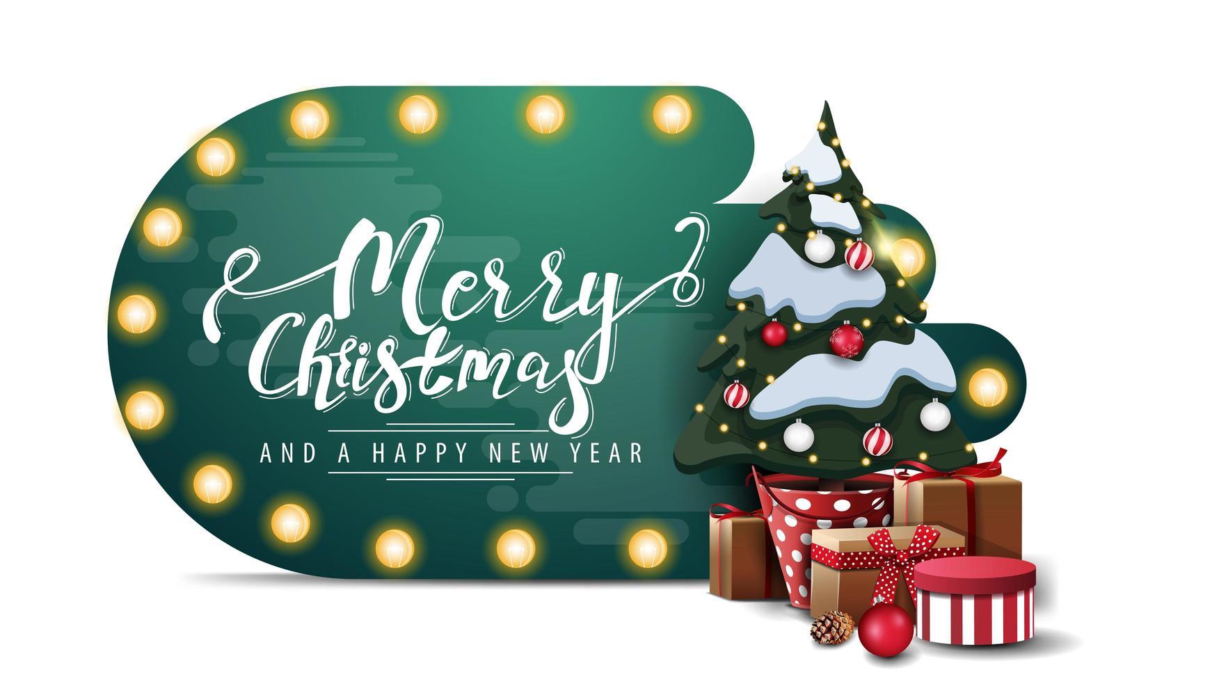 prettige kerstdagen en gelukkig Nieuwjaar, groene abstracte vorm kaart met lamp lichten en kerstboom in een pot met geschenken geïsoleerd op een witte achtergrond vector