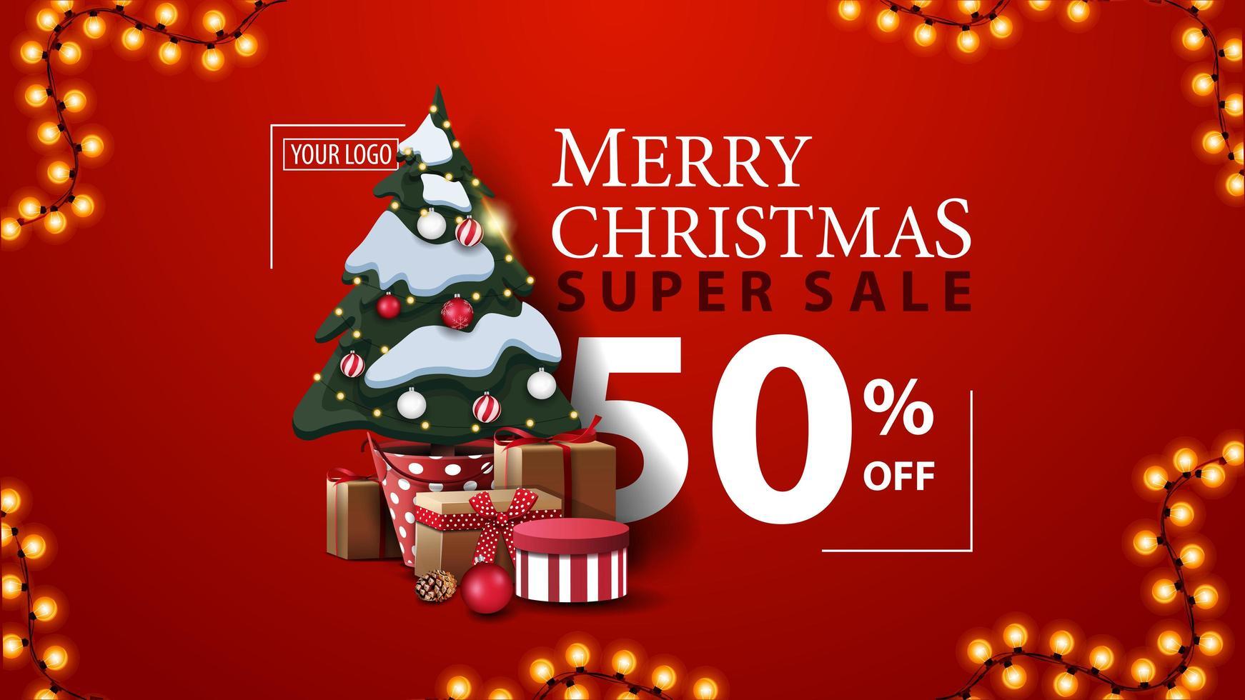 kerst super sale, tot 50 korting, rode moderne kortingsbanner met prachtige typografie, slinger en kerstboom in een pot met geschenken vector