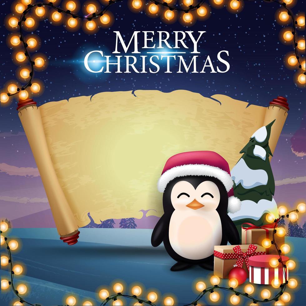 vrolijk kerstfeest, wenskaart met pinguïn in kerstman hoed met cadeautjes, oud perkament voor uw tekst en prachtig winterlandschap op de achtergrond vector