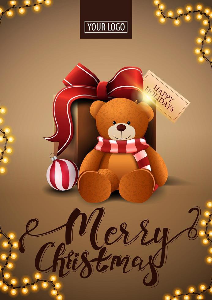 vrolijk kerstfeest, bruine verticale briefkaart in minimalistische stijl met frame van slinger en cadeau met teddybeer vector