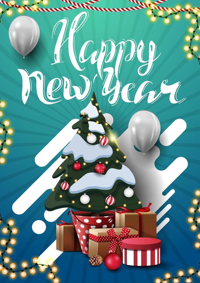 gelukkig nieuwjaar, blauwe verticale wenskaart voor uw creativiteit met kerstboom in een pot met geschenken en witte ballonnen vector