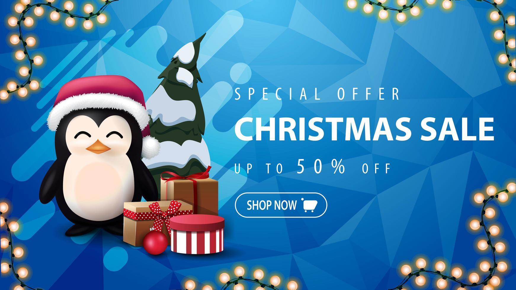 speciale aanbieding, kerstuitverkoop, tot 50 korting, blauwe kortingsbanner met slinger, abstracte vorm, veelhoekige textuur en pinguïn in kerstmuts met cadeautjes vector