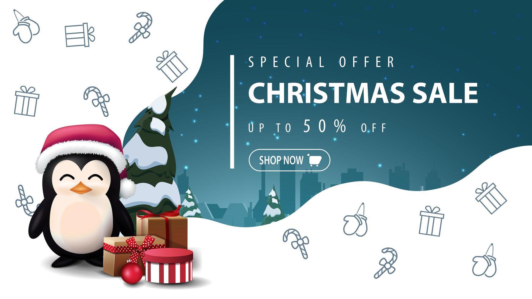 speciale aanbieding, kerstuitverkoop, tot 50 korting, mooie witte en blauwe kortingsbanner met pinguïn in kerstmanhoed met cadeautjes en kerstlijnpictogrammen, ruimteverbeelding vector