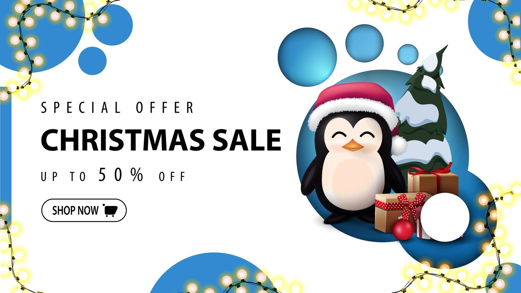 moderne kortingsbanner, speciale aanbieding, kerstuitverkoop, tot 50 korting. kortingsbanner met modern ontwerp met blauwe cirkels en pinguïn in kerstmanhoed met cadeautjes vector
