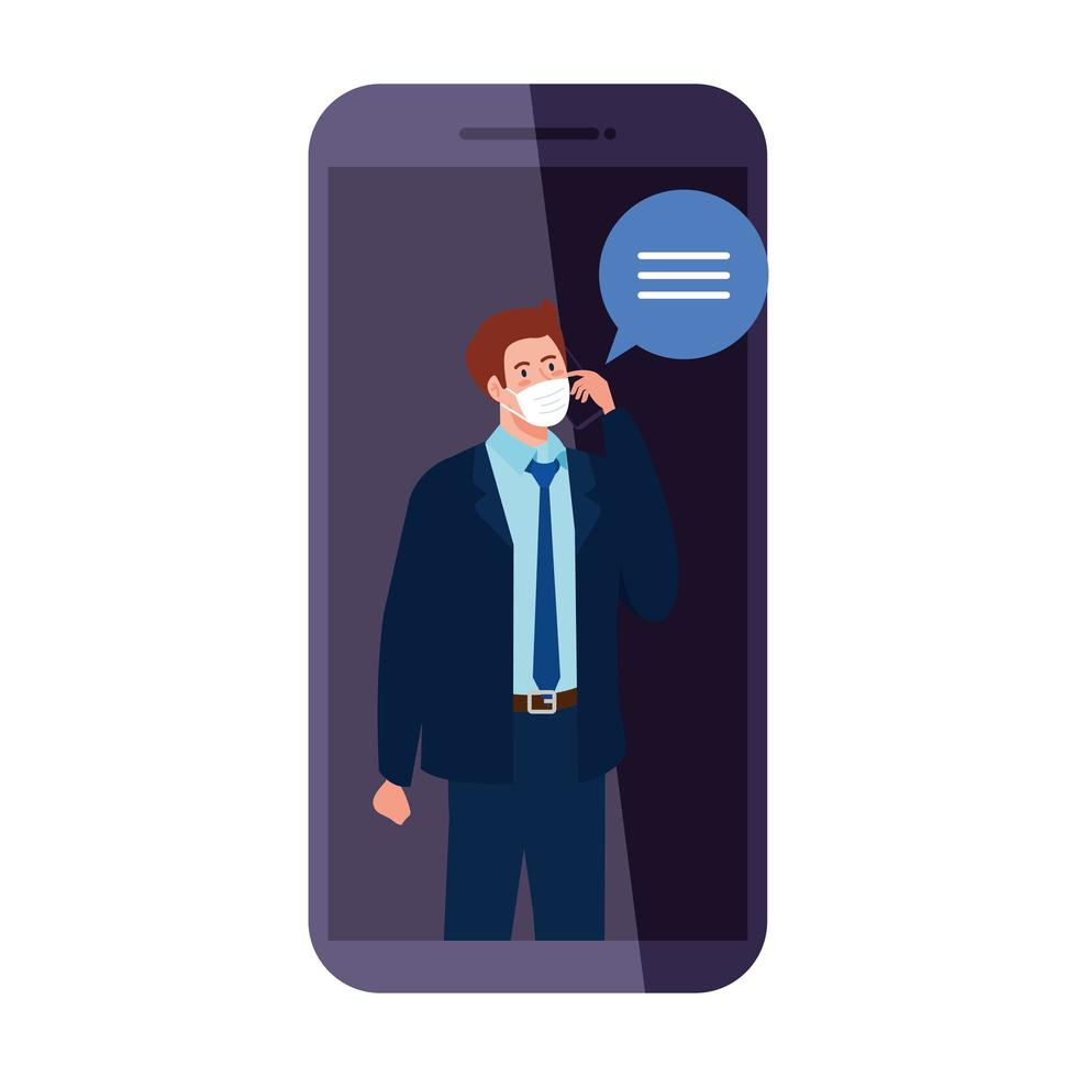 man met medisch masker smartphone en bellen vector ontwerp te houden
