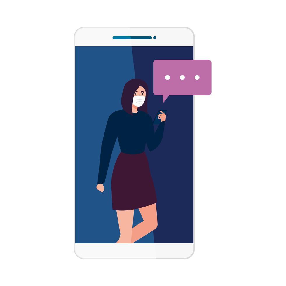 vrouw met medisch masker smartphone en bellen vector ontwerp te houden