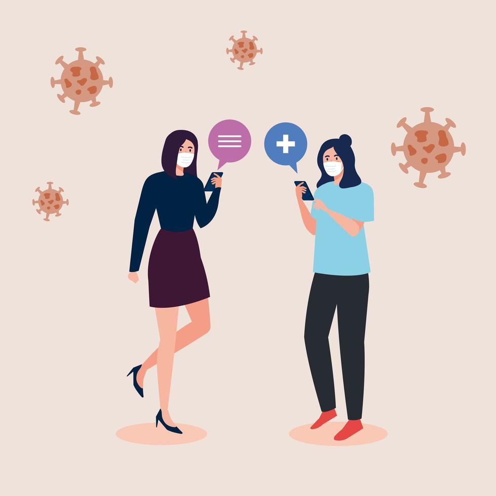 vrouwen met maskers die smartphone vectorontwerp houden vector