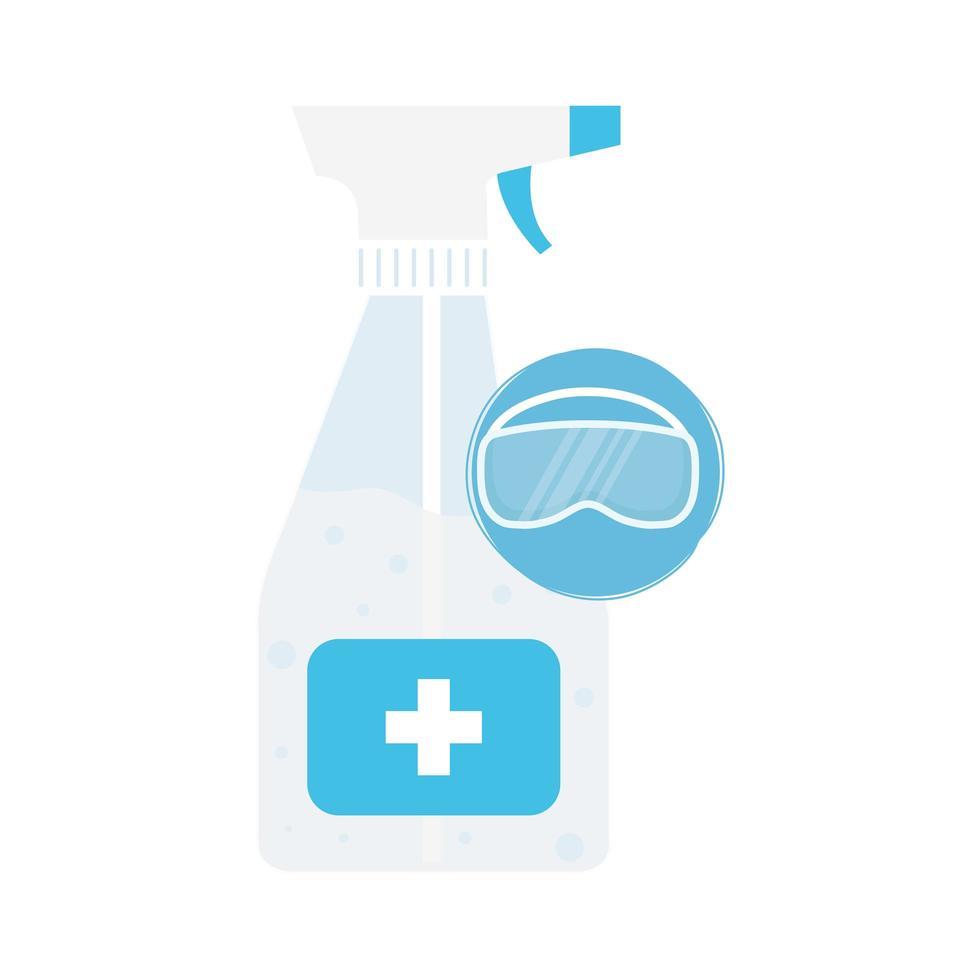 handen ontsmettingsmiddel fles en masker vector ontwerp