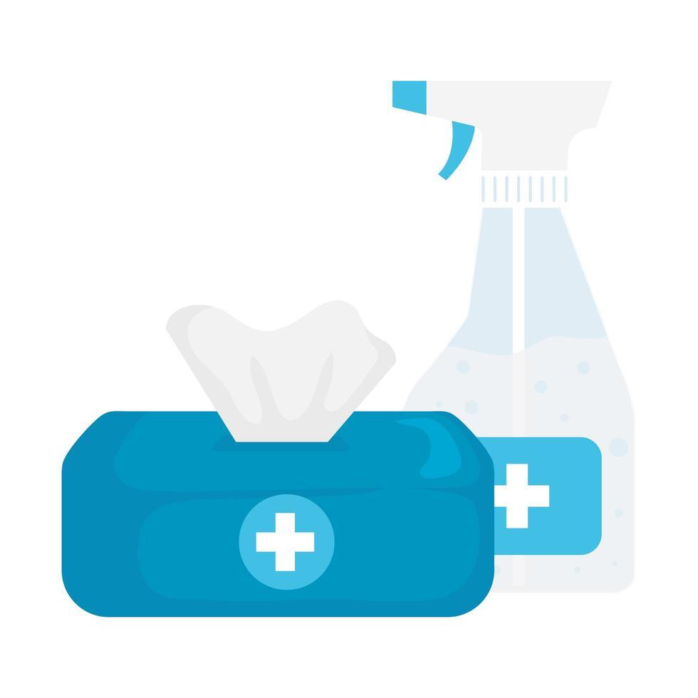 handen sanitizer fles en tissues box vector design