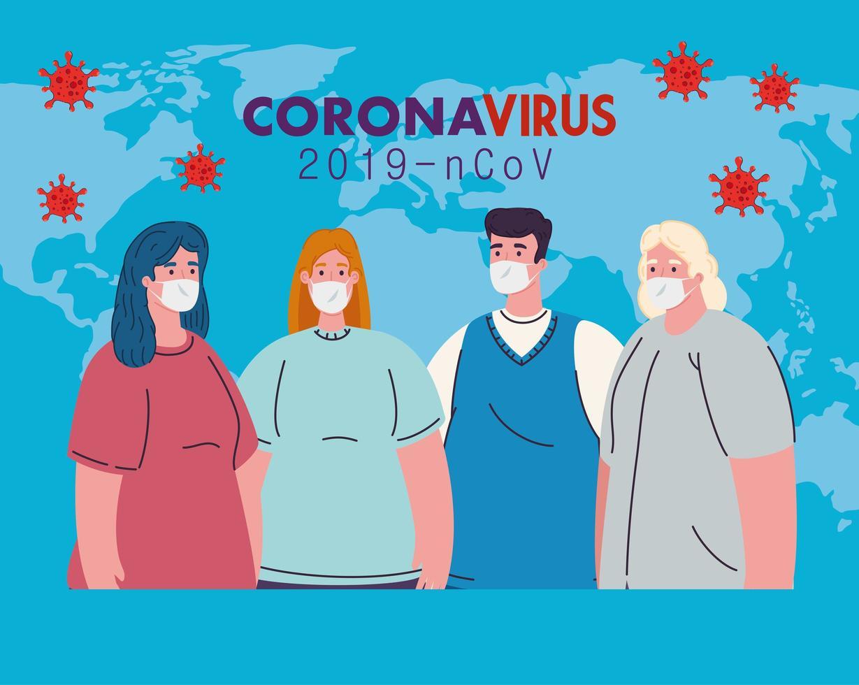vrouwen en mannen met medische maskers en vectorontwerp van de wereldkaart vector