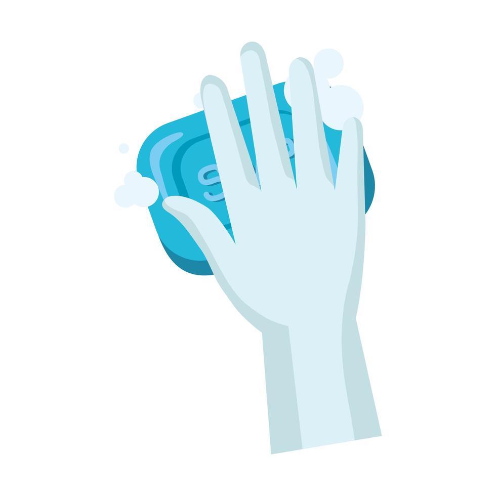 handschoen met zeepstaaf vectorontwerp vector