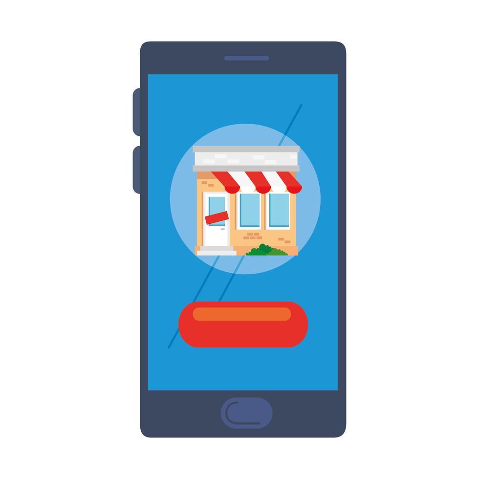 winkel met tent op smartphone vector ontwerp