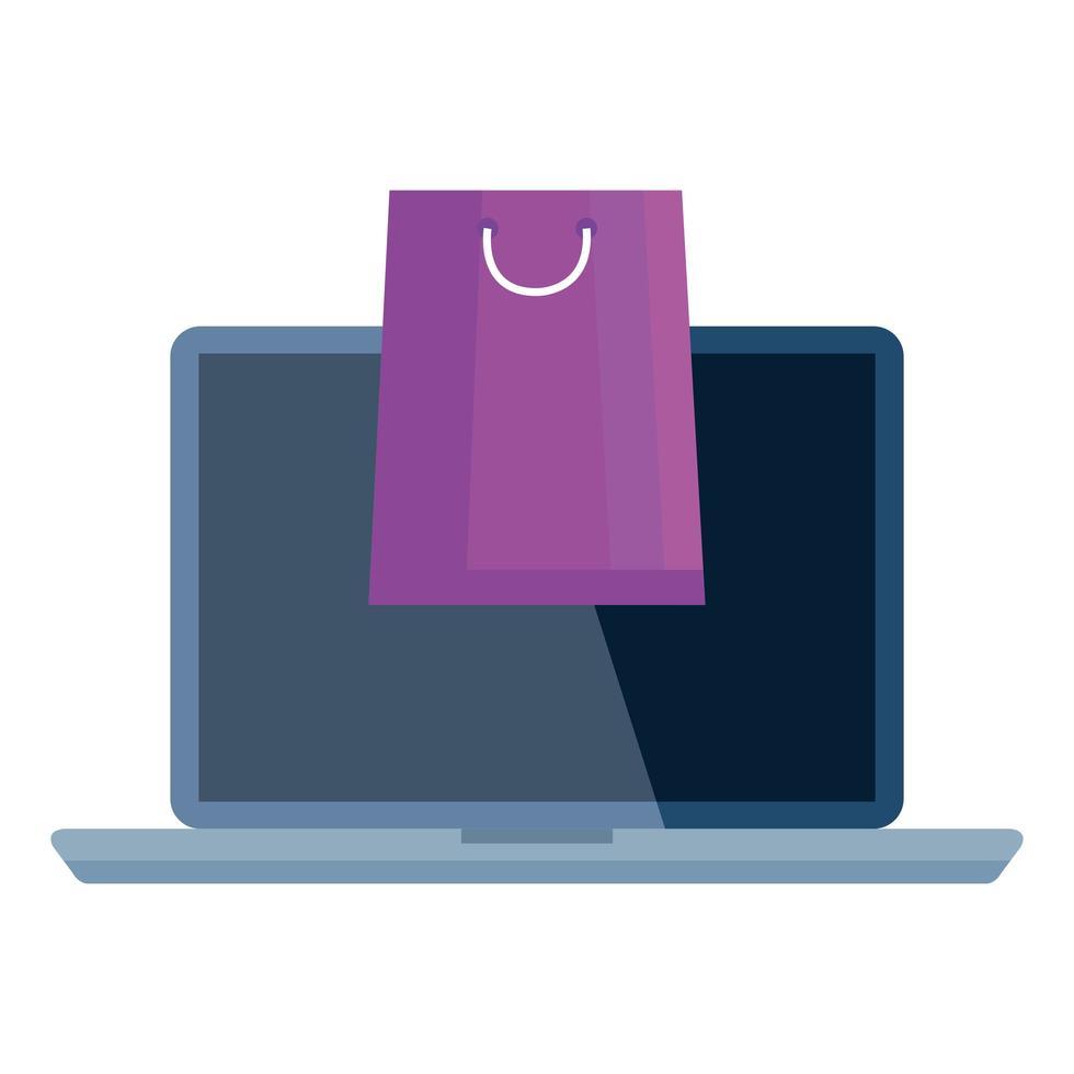 boodschappentas en laptop vector ontwerp