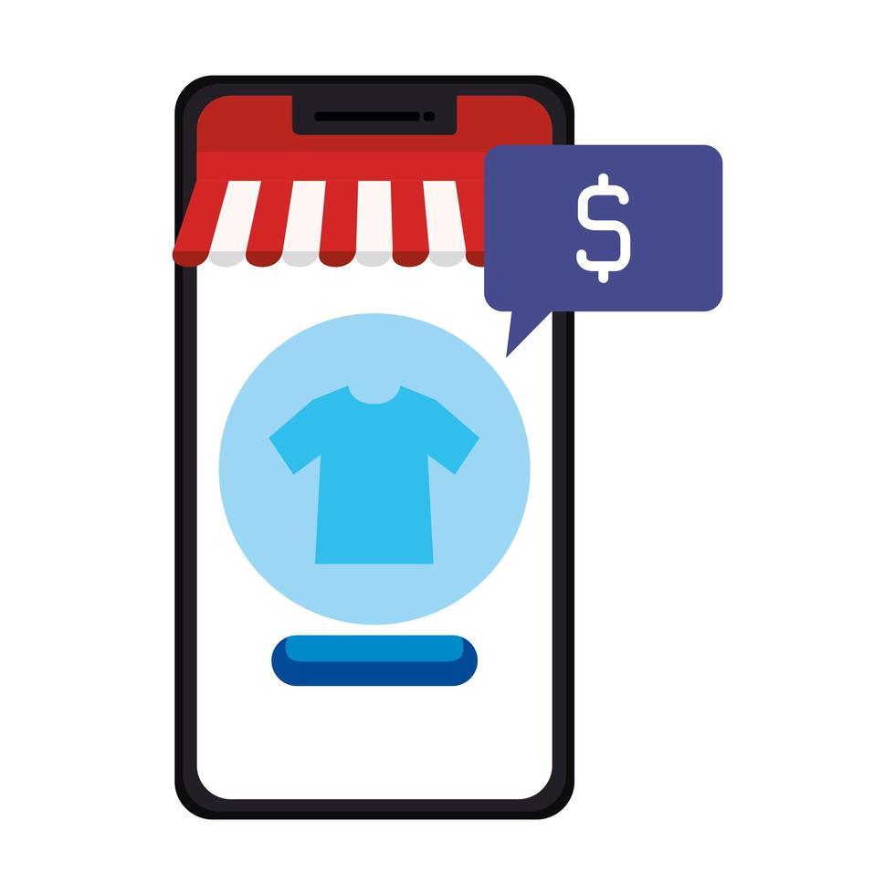 smartphone met tentt-shirt en het vectorontwerp van de dollarverkoop vector