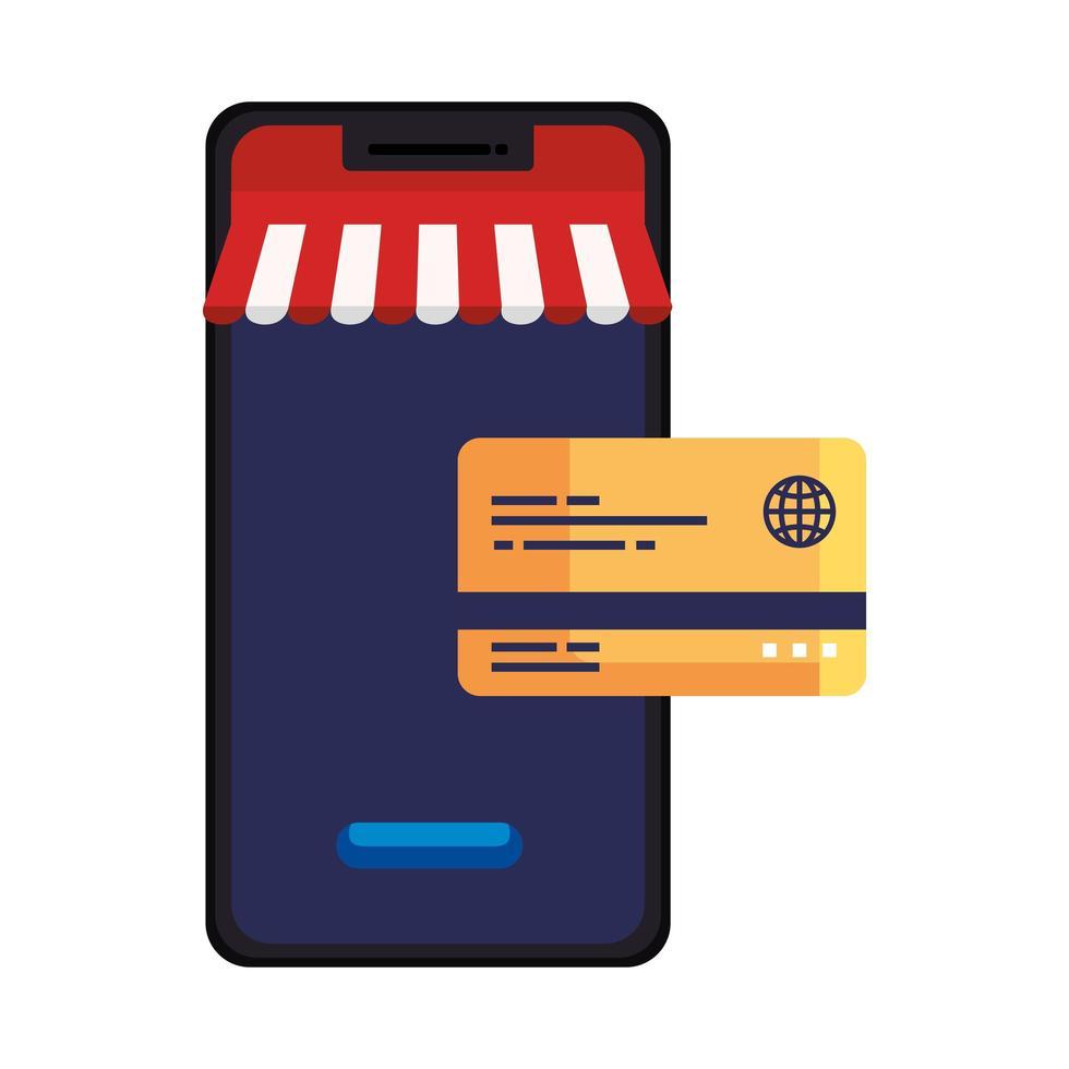smartphone met tent en creditcard vectorontwerp vector